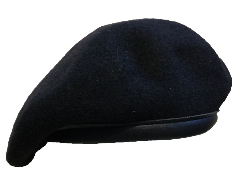 b04351fccdc97a 100% wool beret. Woven in the Czech Republic, trimmed in USA. Sizes: XS -  XXL. Colors: black, forest green, red. Fully lined with a good quality ...